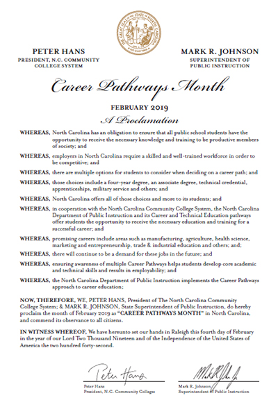 Career Pathways Month Proclamation
