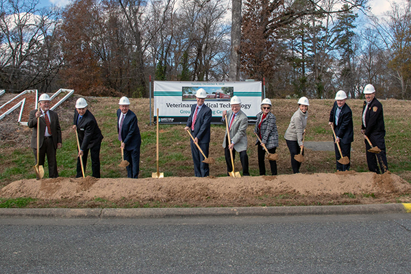 Gaston College officials hold groundbreaking ceremony.