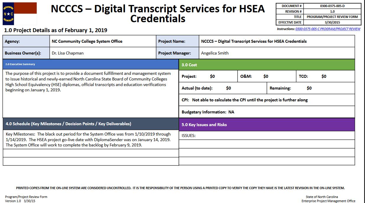NCCCS Digital Transcript Services for HSEA