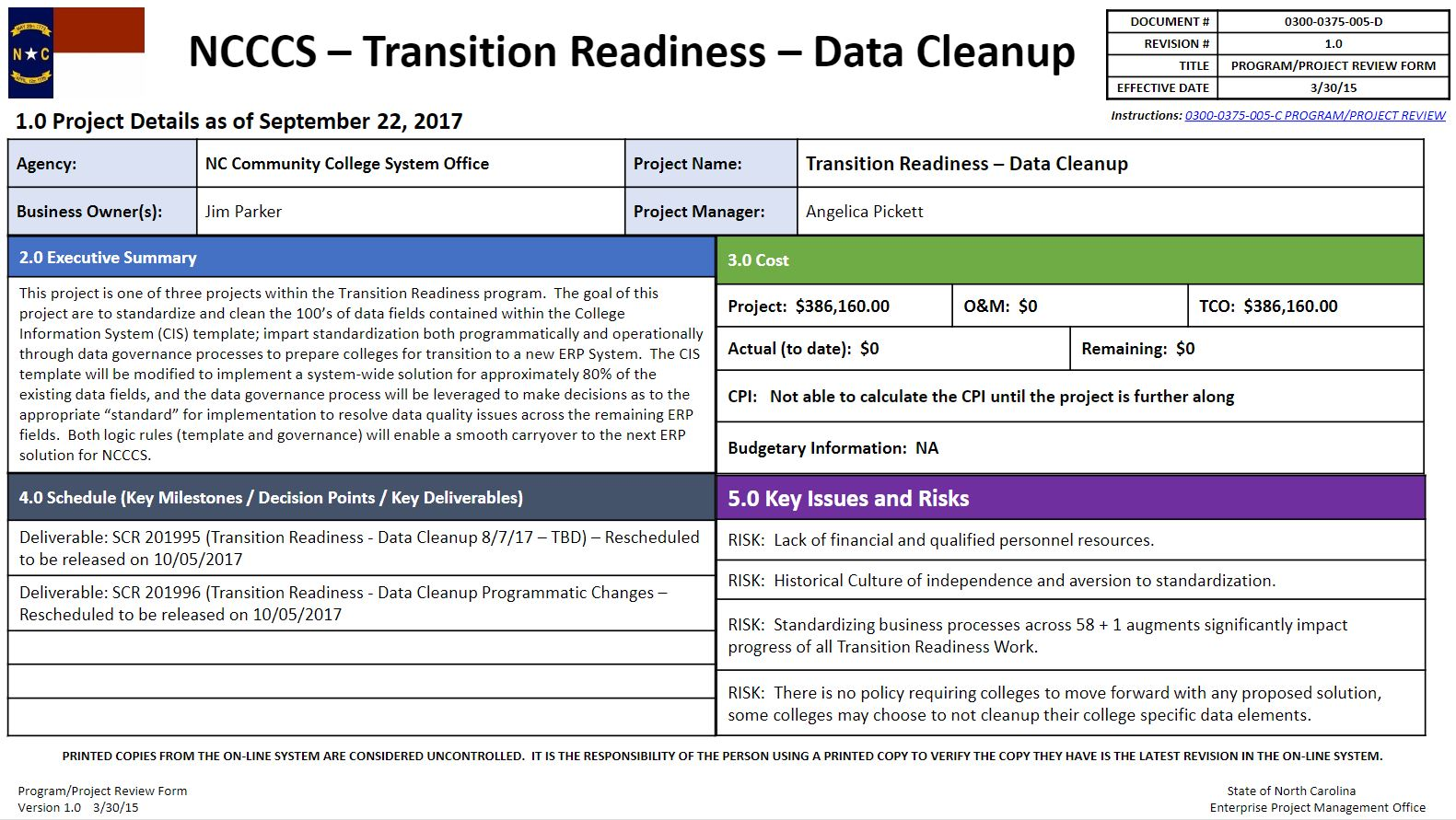 Transition Readiness - Data Cleanup Project progress update image