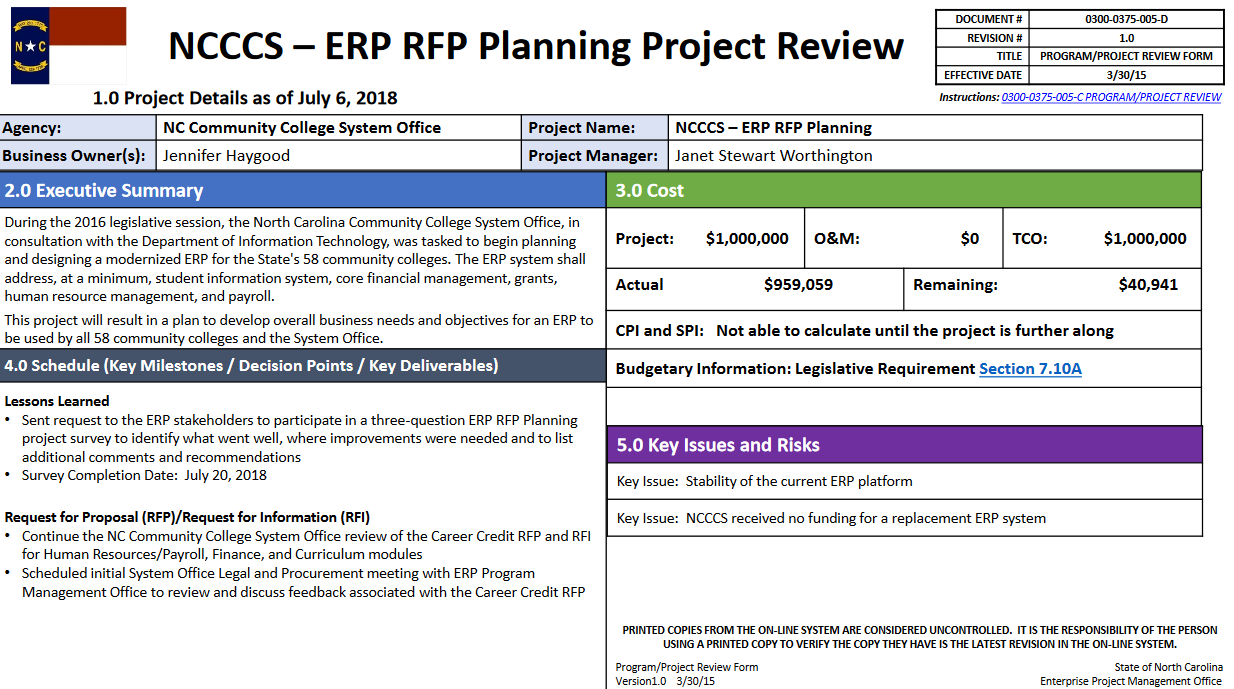 Enterprise Resource Planning Request For Proposal Planning