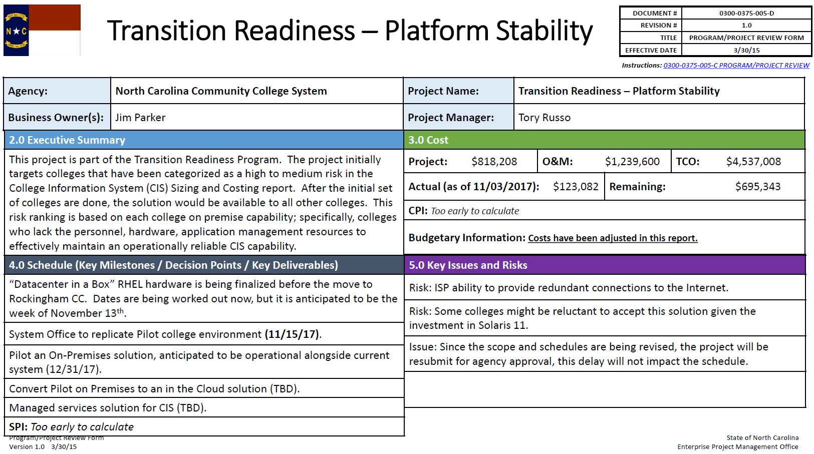 Transition Readiness - Platform Stability Project progress update