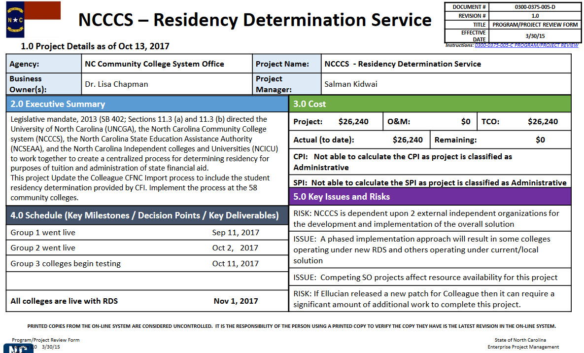 Residency Determination Service Project | NC Community Colleges