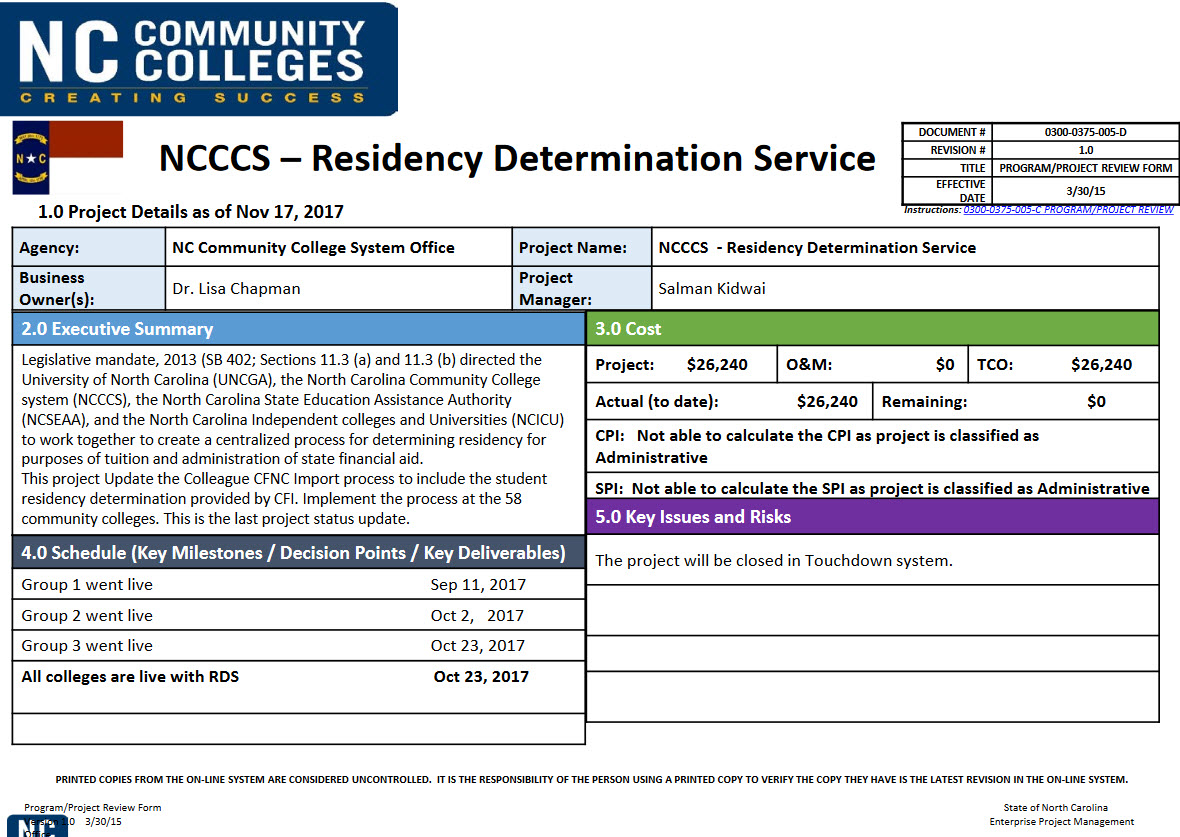 Residency Determination project update image