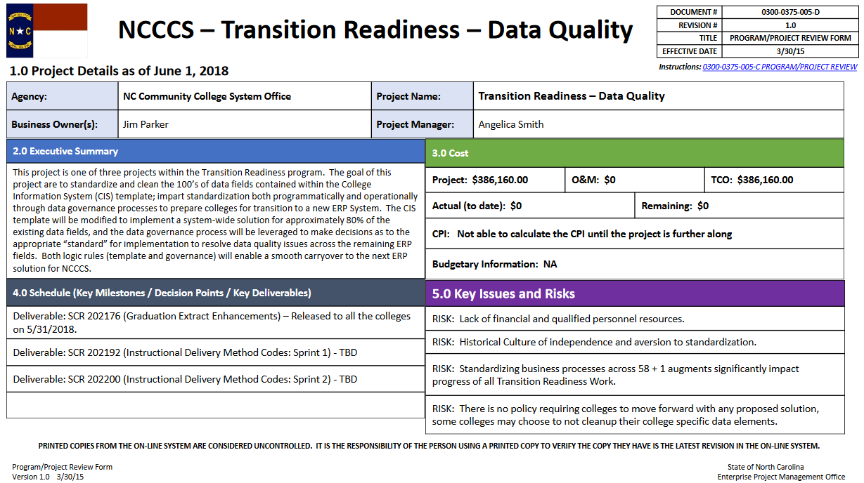 Transition Readiness - Data Cleanup Project progress update