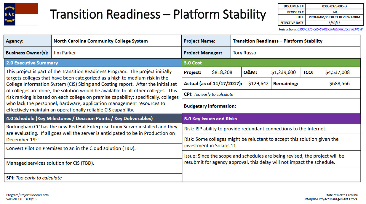 Transition Readiness Platform Stability Project Nc Community