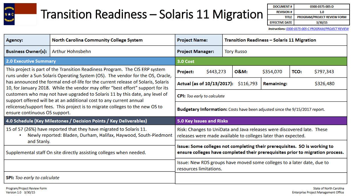 Transition Readiness - Solaris 11 Project progress update