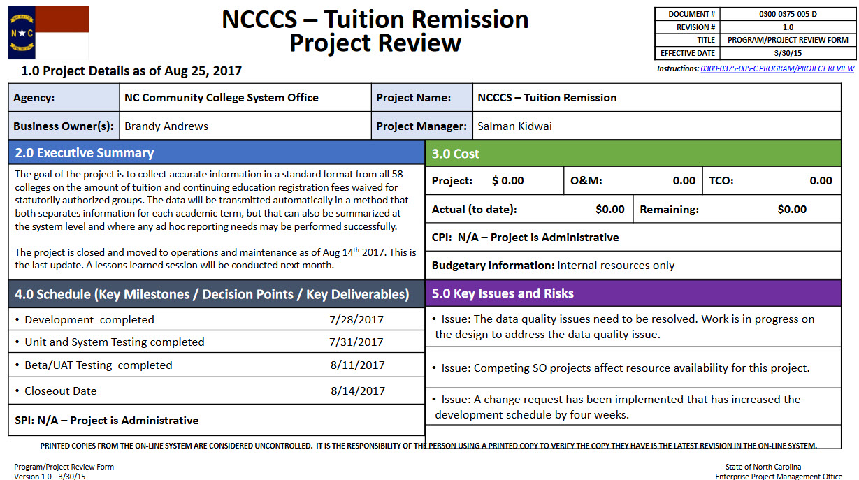 Tuition Remission Project update image