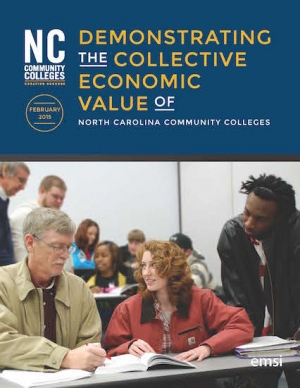 Demonstrating the collective economic value of NC Community Colleges report cover page.