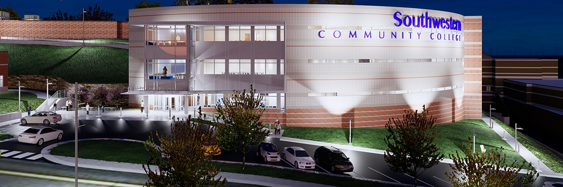 Rendering of planned health care training facility at Southwestern CC