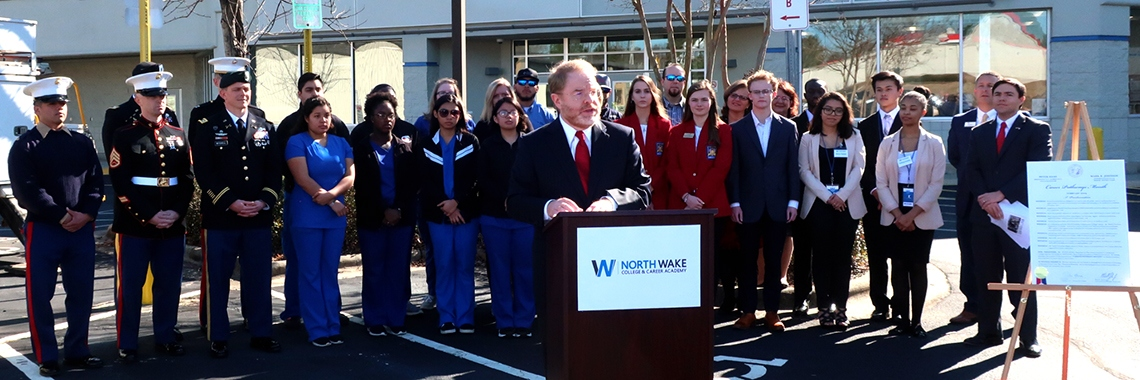 System President Peter Hans and state schools Superintendent Mark Johnson announce Career Pathways Month