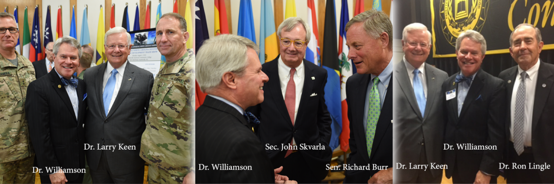 Pictured: Military Representatives, Dr. Williamson, Dr. Keen, Secretary Skvarla, Sen. Burr & Dr. Lingle